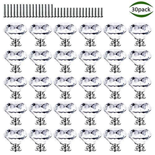 Cabinet Knobs, POZEAN Crystal Knobs for Dresser, Drawer, Cabinet 30 Pack with Two Different Sizes Screws, Perfect Decor for Your Home, Living-Room, Kitchen, Bathroom, Office and More