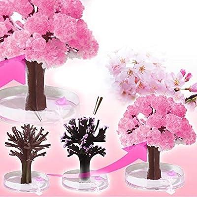 3x3-1pcs Mini Cherry Blossom Christmas Kids Toys Japan Pink Magic Growing Paper Year 39 S Tree Crystal - Decor Light Quartz Rear Helium Artificial Bumper Headlights Timer Magic Christma T
