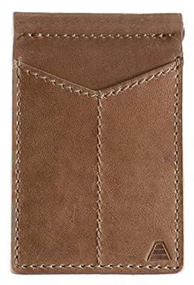 Andar Mens Leather Money Clip, Front Pocket Minimalist Card Holder RFID Blocking Wallet