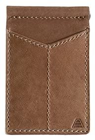 Andar Mens Leather Money Clip, Front Pocket Minimalist Card Holder RFID Blocking Wallet Made from Full Grain Leather, with Back Saving Bi-Fold Cash Clip