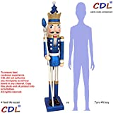 CDL 48'' 4ft tall life-size large/giant blue glitter Christmas wooden nutcracker king ornament on stand holds golden scepter for indoor outdoor Xmas/event/wedding party decoration K33