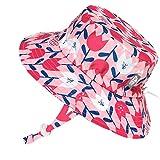 JAN & JUL Children's Beach Swim Quick Dry Sun Hats 50+ UPF, Drawstring Adjustable (L: 2-5Y, Tulip)