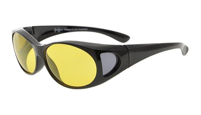 Eyekepper Estilo retro polarizado anti azul resplandor lentes fotocrómicos fitover gafas de sol (Negro/