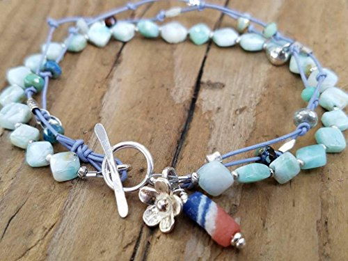 Blue Peruvian Opal and Hill Tribe Silver Bracelet ()