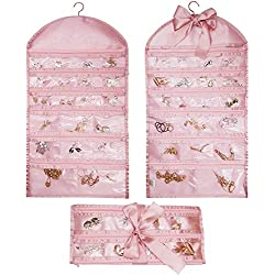 Ominic Travel Jewelry Holder Organizer Roll Hanging Closet Stores Wall Mounted Accessory Storage Bag with Zipper,Rolls Up,40 Pockets,Dual Sides,Premium Hanger - Pink