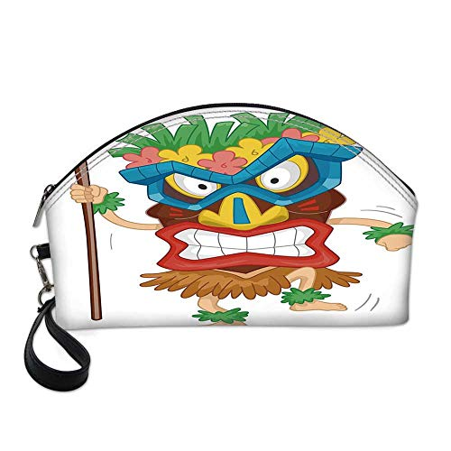 Tiki Bar Decor Small Portable Cosmetic Bag,Native Man Wearing Mask Illustration Cartoon Tribal Costume Primitive Ritual Decorative For Women,One size ()