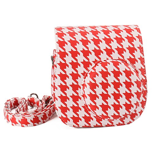 [Fujifilm Instax Mini 8 Case]-WOODMIN Houndstooth Red PU Leather Protective Fuji Camera Case with Shoulder Strap for Instant Mini 8 Camera