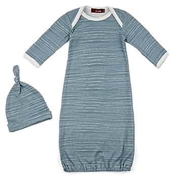 Amazon Milkbarn Newborn Gown and Hat Set Blue Stripe