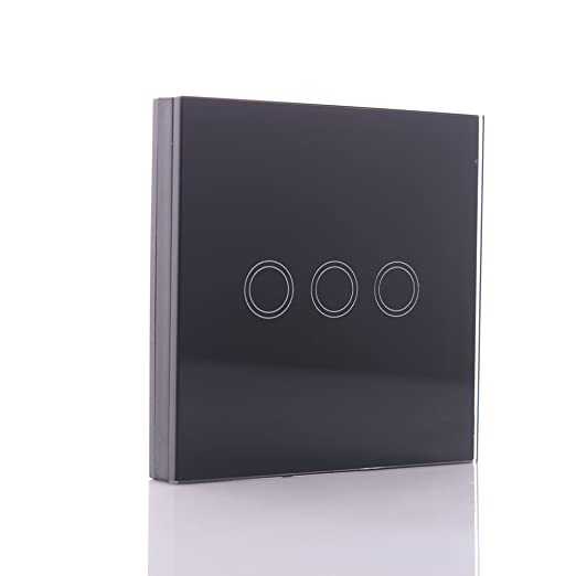 Lixada 3 Gang 3 Way Switches, LED Crystal Tempering Glass Panel ...