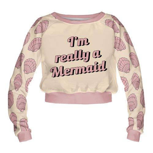 Las niñas Adolescente Recortada Sudadera Manga Larga Jersey algodón Top Blusa Moda Really Mermaid Talla única