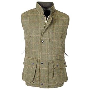 Men 39 s raiken hunting tweed gilet fishing derby quilted for Fishing vest amazon