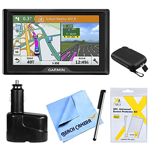 Garmin Stylus (Garmin Drive 51 LMT-S GPS Navigator (010-01678-0C) - USA With Driver Alerts w/Accessories Bundle Includes, Dual 12V Car Charger for GPS, Screen Protectors, Protect & Stow Case Mini + More)