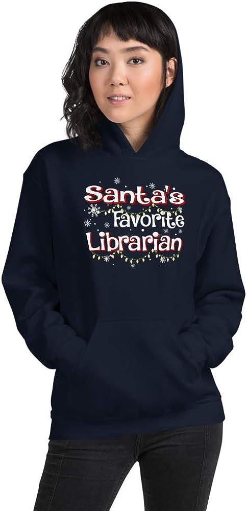TEEPOMY Funny Santas Favorite Librarian Christmas Santa Hat Light Unisex Hoodie