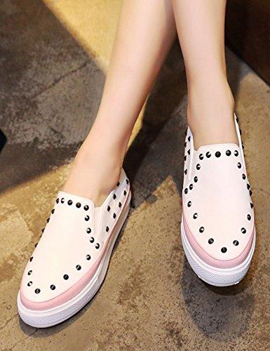 Aisun Donna Moda Borchiato Punta Tonda Basso Alto Spesso Slip On Sneakers Piattaforma Piatta Mocassino Scarpe Rosa