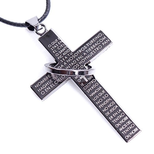 Beautiful Bead Classic Bible Scriptures Embossed Crucifix with Ring Pendant Waxed Strand Necklace with Lobster Claw Clasp Black