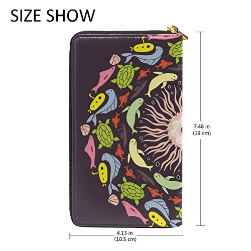 Purses Wallet Organizer With And Around TIZORAX Clutch Fish Womens Handbags Round Zip Abstract Colored UAwH80O