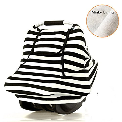 (Stretchy Baby Car Seat Covers for Boys Girls Infant Car Canopy Spring Autumn Winter,Snug Warm Breathable Windproof, Adjustable Peep Window,Insect Free,Universal Fit,Black White Stripe-Patented Design)