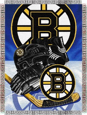 The Northwest Company Officially Licensed NHL Boston Bruins Homefield Ice Advantage Woven Tapestry Throw Blanket, 48