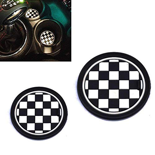 iJDMTOY (2 73mm Checker Pattern Silicone Cup Holder Coasters for Mini Cooper R55 R56 R57 R58 R59 Front Cup Holders, Black/White Checkerboard - Checkered Badges
