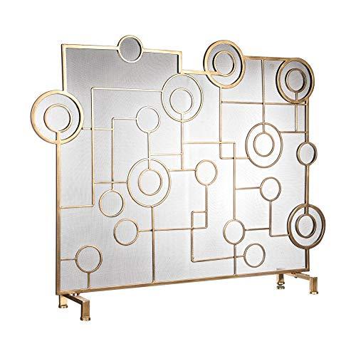 Zinc Decor Contemporary Circles Fireplace Screen Antique Brass Protective Mesh Brass Contemporary Fireplace Screen
