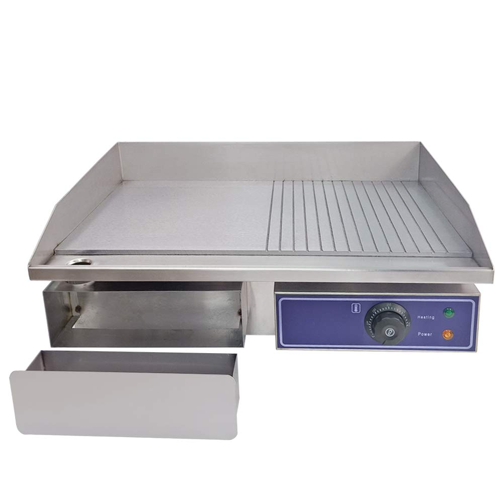 TAIMIKO Commercial Electric Griddle Countertop Grill Griddle//Flat Hotplate//Barbeque Stainless Steel Half Flat Kitchen Grill Hotplate BBQ Burger Bacon SausagesFryer