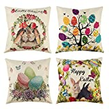 4 Pack Happy Easter Throw Pillow Covers Cotton Linen, Spring Rabbit Egg Throw Cushion Cover Pillowcase with Hidden Zipper for Home Car Decor, 18 x 18 Inches