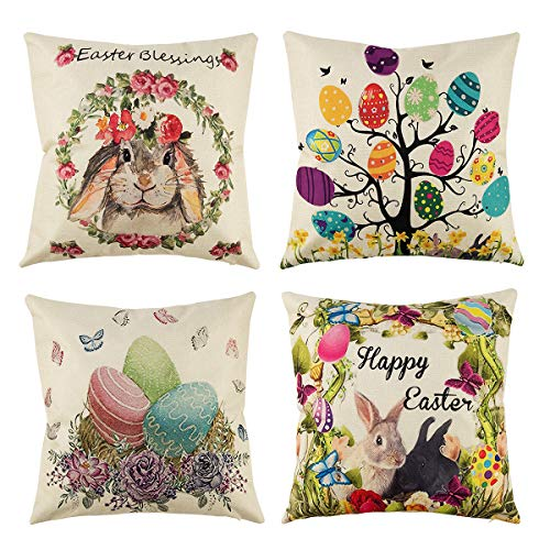 (4 Pack Happy Easter Throw Pillow Covers Cotton Linen, Spring Rabbit Egg Throw Cushion Cover Pillowcase with Hidden Zipper for Home Car Decor, 18 x 18 Inches )