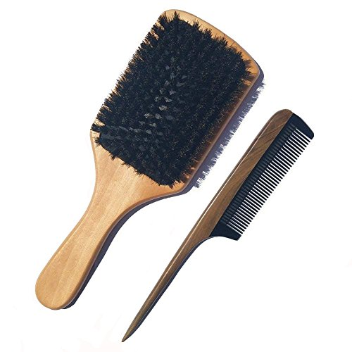 Boar Bristle Hair Brush Set - Sandalwood Hair Comb - Natural Wooden Handle and Black Buffalo Horn Teeth Comb - No Static Fine Tooth Teasing Tail Comb