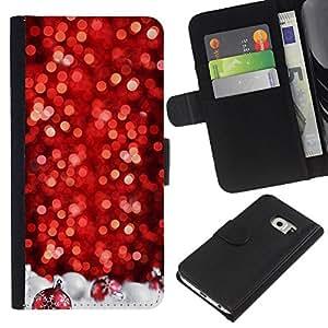 A-type (Chrismas Red Tree Decorated White) Colorida Impresión Funda Cuero Monedero Caja Bolsa Cubierta Caja Piel Card Slots Para Samsung Galaxy S6 EDGE (NOT S6)