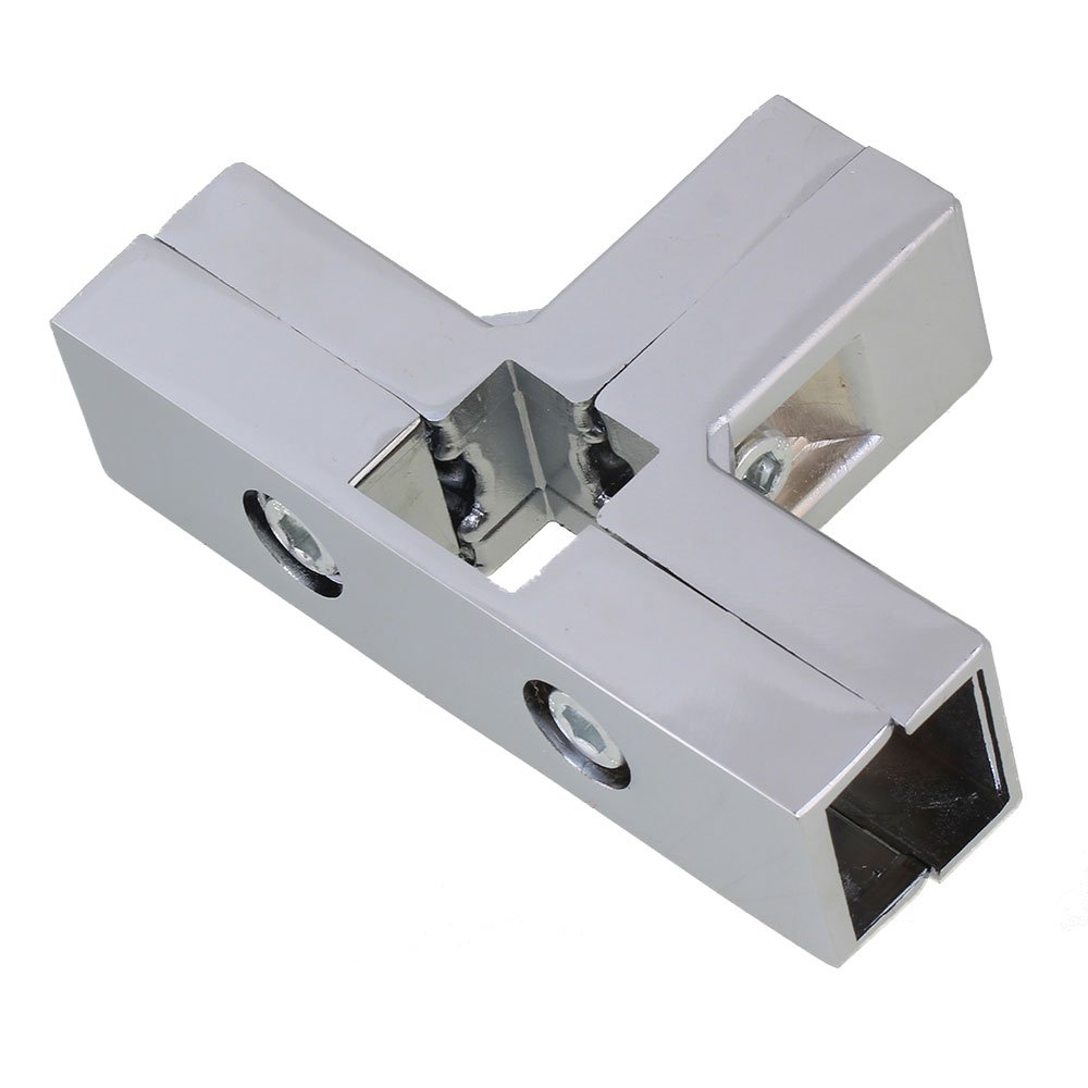 BQLZR aluminio cromado tubo cuadrado de plata 3 Way T Forma ...