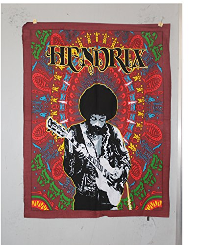 Jimi Hendrix Tapestry Psychedelic Hippie Rock Music Indian Decor Wall Hanging Decor Cotton Poster Yoga Mat Tapestry (Hippie Rock)