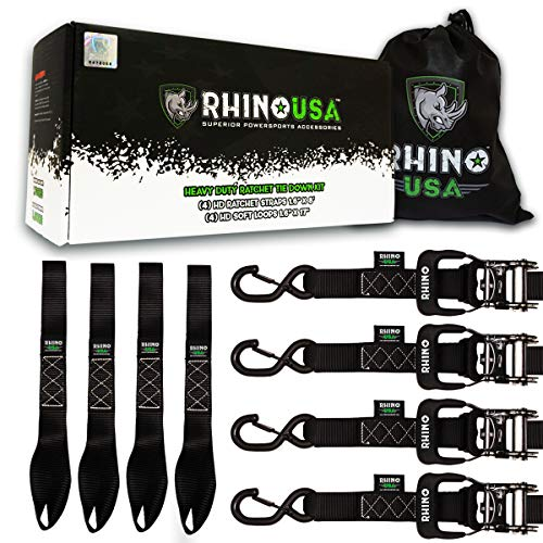 RHINO USA Ratchet Straps Motorcycle Tie Down Kit, 5,208 Break Strength - Includes (4) Heavy Duty 1.6'' x 8' Rachet Tiedowns with Padded Handles & Coated Chromoly S Hooks + (4) Soft Loop Tie-Downs… by Rhino USA