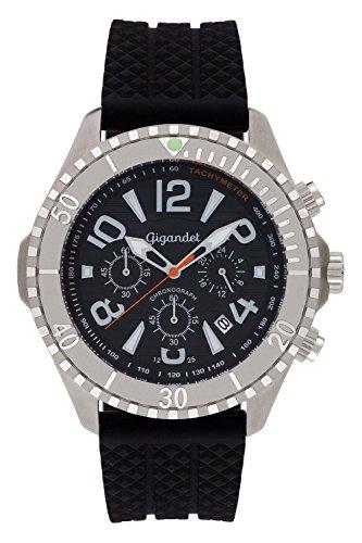 Gigandet Men's Quartz Watch Aquazone Chronograph Analogue Silicone Strap Black Silver G23-002