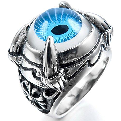 (INBLUE Men's Stainless Steel Ring Blue Black Silver Tone White Dragon Claw Evil Devil Eye Cross Size11)