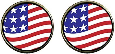 GiftJewelryShop Bronze Retro Style Usa Flag Photo Clip On Earrings 14mm Diameter