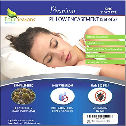 als Waterproof King Pillow Protectors (Set of 2) – Allergy Pillow Cover Bed Bug Hypoallergenic Dust Mite Proof Zippered Encasement ()
