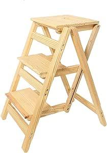 XMGJ Escaleras extensibles Taburete con escalones - escalera de madera maciza Escalera con 3 peldaños pedal plegable plegable para el hogar taburete antideslizante escalera multifunción escalera para: Amazon.es: Bricolaje y herramientas