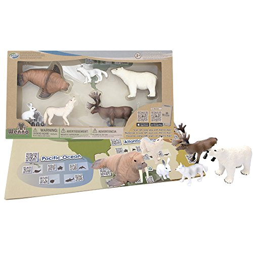 Arctic Set Animal (Wenno - Geology Animals Figures Habitats Educational Toys Set for Kids Children with World Map QR Code Learning Resource Arctic)