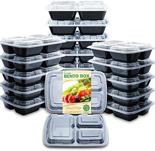 Enther Lebensmittelbehälter mit Deckel, 20 Stück, 3 Fächer, BPA-frei, wiederverwendbar, mikrowellen-/spülmaschinenfest, gefriergeeignet, Portionskontrolle, Schwarz, klein