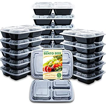 Enther Meal Prep Containers with Lids 20 Pack 3 Compartment Food Storage Bento Lunch Box BPA Free, Reusable, Microwave/Dishwasher/Freezer Safe, Portion Control, 24oz Black Small
