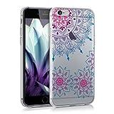 kwmobile Funda TPU silicona transparente para > Apple iPhone 6 / 6S < en rosa fucsia azul transparente Diseño Anillo con flores vintage