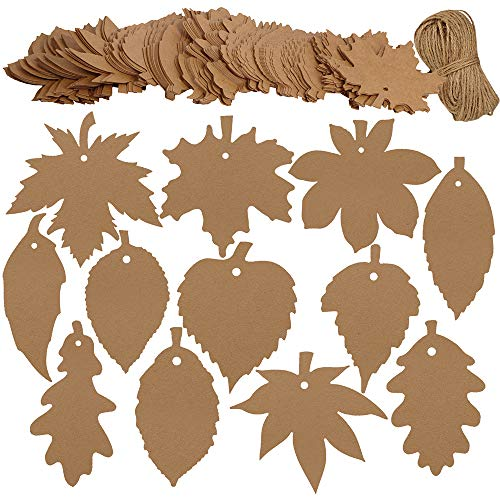 Gift Tags,Thanksgiving Tags,180 PCS Kraft Paper Tags for Party Favors Brown 9 Styles Leaf Craft Hang Tags with Jute Twine