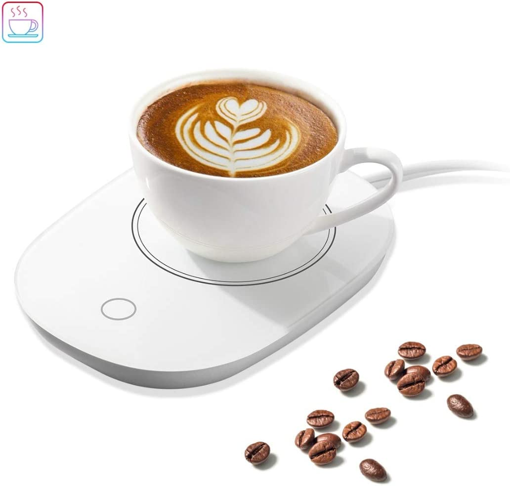 Electronic Coffee Cup Warmer Plate Beverage Heater Warm keeper (US Plug) (White)