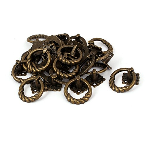 uxcell Cupboard Dresser Drawer 41mmx30mmx25mm Retro Style Zinc Alloy Pull Handle Ring 20pcs (Zinc Ring Pull)