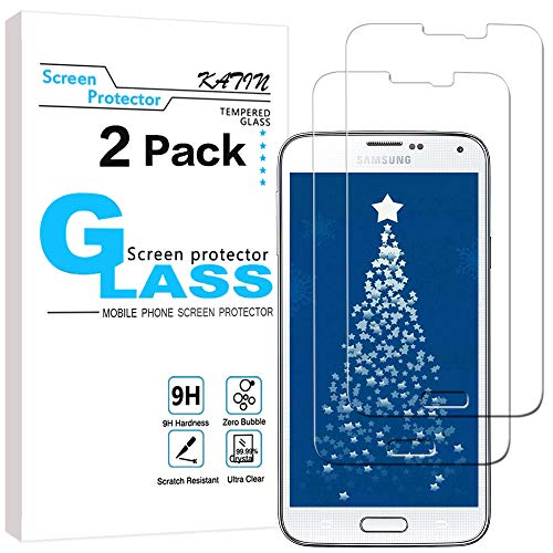 KATIN Galaxy S5 Screen Protector - [2-Pack] (Japan Tempered Glass) for Samsung Galaxy S5 Screen Protector Bubble Free, Easy to Install with Lifetime Replacement Warranty