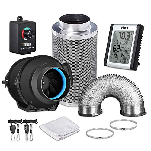 iPower GLFANXEXPSET4D25CHUMD 4 Inch 150 CFM Inline Carbon Filter 25 Feet Ducting with Fan Speed Controller and Temperature Humidity Monitor and Grow Tent Ventilation, Kits, Black