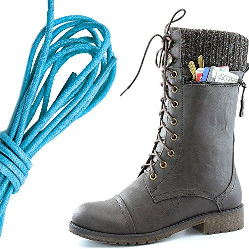 Dailyshoes Womens Style De Combat Lacets Cheville Bottine Bout Rond Militaire Knit Carte De Crédit Couteau Argent Portefeuilles De Poche, Bleu Brun Pu