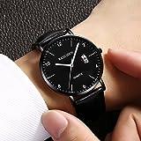 Mens Watches Analog Quartz Leather Dress Watch Sport Clock For Mens Fashion Casual Wristwatch Waterproof Calendar Date Thin&Slim Dial