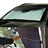 Relanson Universal Fit Retractable Auto Windshield Sunshade Easy to Use Sun Shade(Standard/25.6