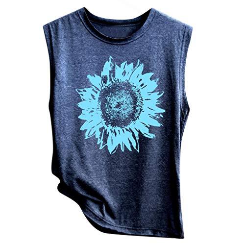 HAALIFE◕‿Sleeveless Shirts for Women Sunflower Print Tank Tops Summer Funny Graphic Tee Shirt Vest